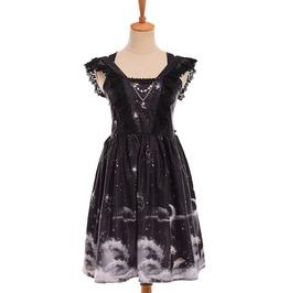 Black Lace Ruffles Stars Moon Dolphin Print Off Shoulder Lolita Dress
