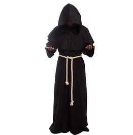 Medieval Monk Costume Renaissance Priest Hooded Robe