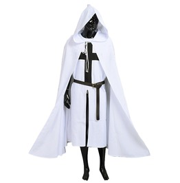 White Warrior Larp Medieval Templar Knights Cosplay Costume