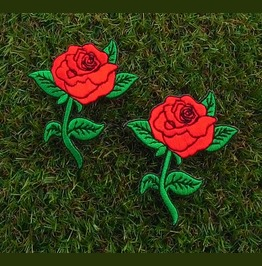 """2 Pcs. """"Red Roses"""" Sew On Or Iron On Patch."""
