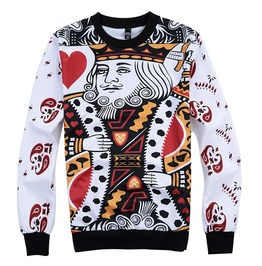 3 D Print Playing Card King Of Hearts Poker Sweatshirt Pullover