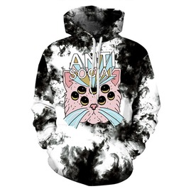 3 D Print Alien Eyes Cat Harajuku Hooded Anti Social Hooded Sweatshirt