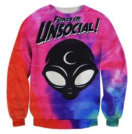 Harajuku Alien Forever Unsocial Crewneck Sweatshirt Women Men