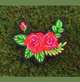 Red Roses Floral Sew On Or Iron On Patch.