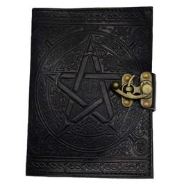 Pentacle Black Leather 7 Inch Journal With Latch