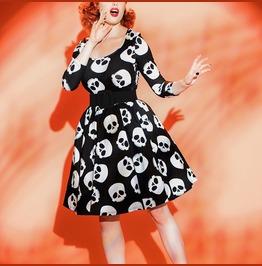 Retro Skull Rockabilly Pinup Vintage Dress
