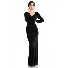Voodoo Vixen Molly 30s Black Velvet Gown