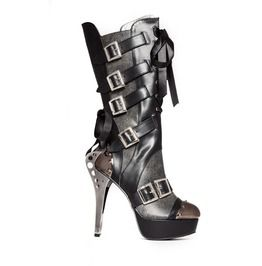 Industrial Metal Knee High Ankle Boots