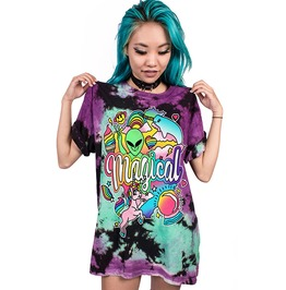 Rainbow Unicorn Alien Print Loose 3 D Punk Tee Shirt Women Men