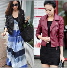 Lady Women Vintage Slim Biker Motorcycle Soft Leather Zipper Jacket Coat