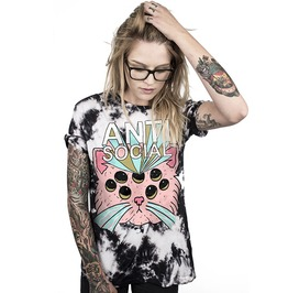 Anti Social Multi Eye Pink Alien Cat Oversize Punk T Shirt