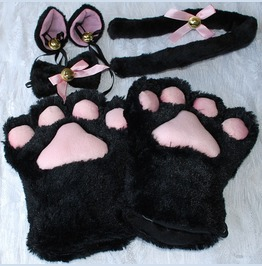 Amine Cosplay Cat Paws Tail Ears Furry Costume Set