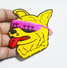 Embroidered Yellow Modern Dog With Pink Glasses Iron On Patch.