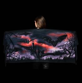Castle & Bats Scarf, Halloween Printed Bats Wrap, Halloween Shawl