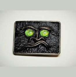 Antique Silver Genuine Leather Belt Buckle With Ugly Leather Face.