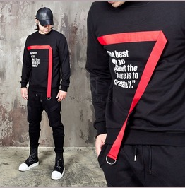 D Ring Webbing Tape Accent Sweatshirts 791