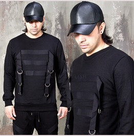 Multiple D Ring Webbing Tape Black Sweatshirts 792