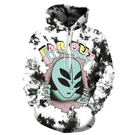 3 D Print Cartoon Alien Far Out Punk Harajuku Hooded Sweatshirts