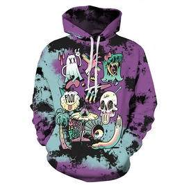 3 D Cartoon Monsters Skull Ufo Space Is The Place Harajuku Hooded Sweatshirt