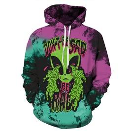 3 D Print Cartoon Alien Don't Be Sad Be Rad Punk Harajuku Hooded Sweatshirt