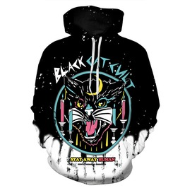 3 D Print Cartoon Black Cat Cult Stay Away Human Punk Hooded Sweatshirt
