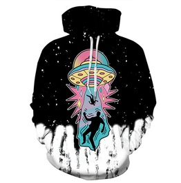 3 D Print Cartoon Abducted By Aliens Ufo Spaceship Hooded Sweatshirt