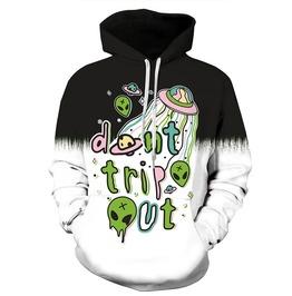 3 D Print Cartoon Alien Spaceship Don't Trip Out Punk Hooded Sweatshirt