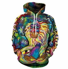 3 D Oil Print Rafiki Lion King Hooded Sweatshirt