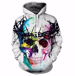 b28f21f409213d 3 D Print Colorful Skull Thorns Unisex Hooded Sweatshirt