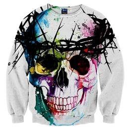 3 D Print Harajuku Colorful Skull Thorns Pullover Sweater Men