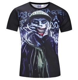 Punk Goth 3 D Print Zombie Slim Fit T Shirt Top Men