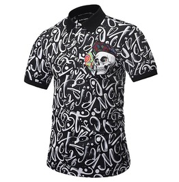 Punk Harajuku 3 D Print Flowers Letters Skull Polo Shirt Men