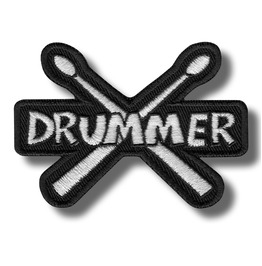 Drummer Embroidered Patch, 3,2 X 2,4 Inch