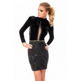 Black Velvet Open Back Mini Dress Gothic M L