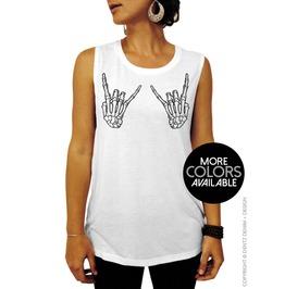Skeleton Hands, Rock On, Halloween Shirt, Womens Muscle Tee Tank Top