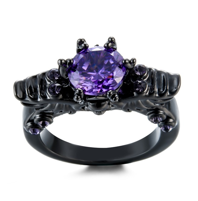 Gothic Wedding Rings.Black Winged Skull Ring Gothic Wedding Vintage Purple Cz Zirconia Gem