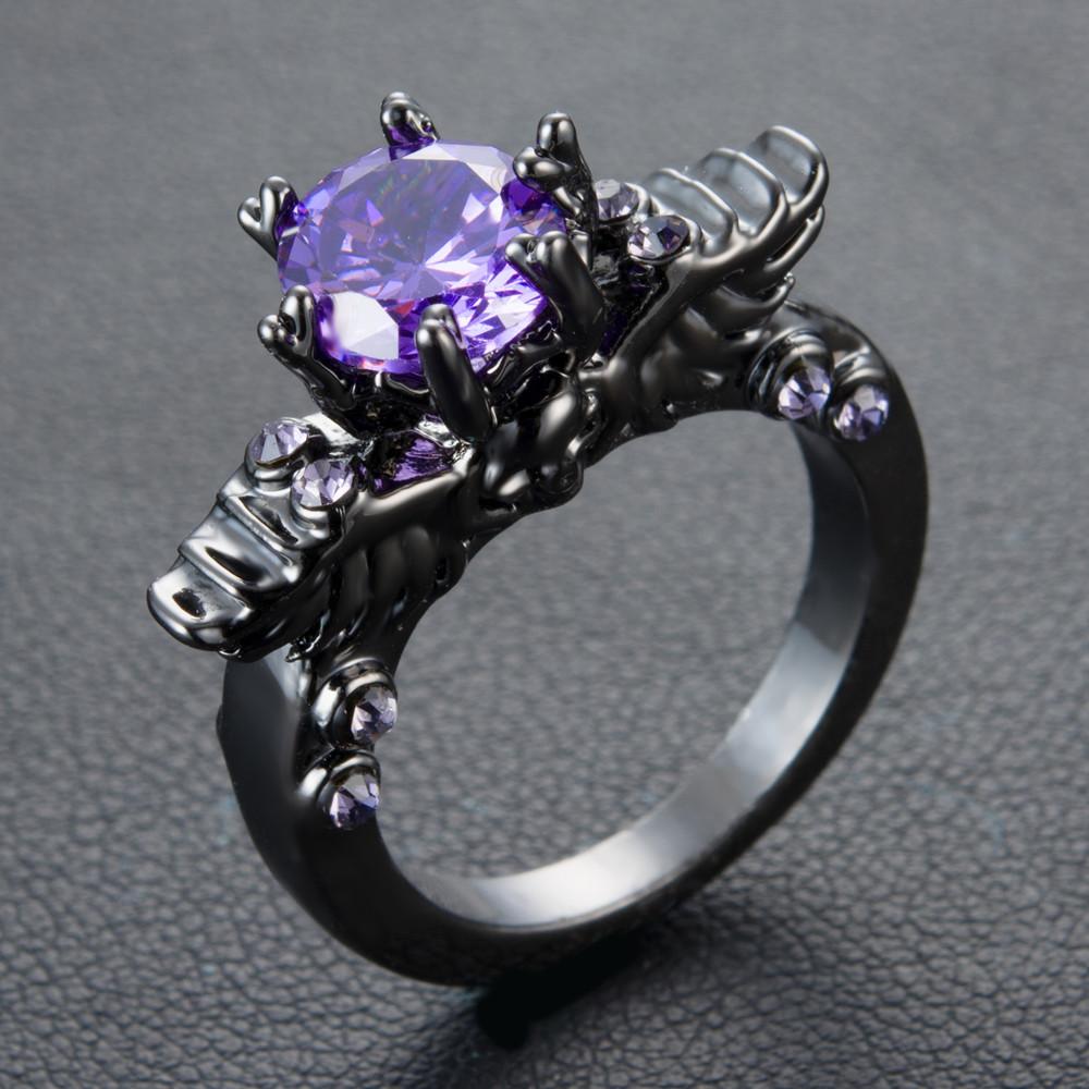 Black Winged Skull Ring Gothic Wedding Vintage Purple Cz