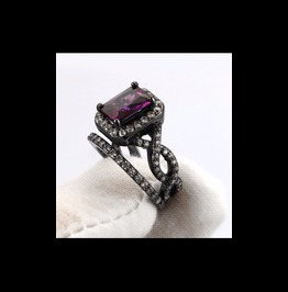 Black Gunmetal Gothic Vintage Rings Set Purple Cz Wedding