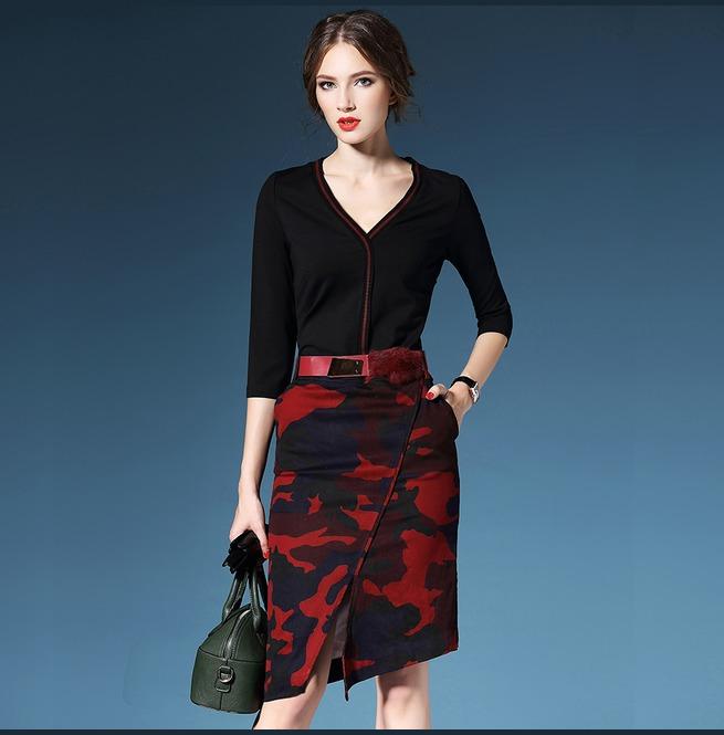 rebelsmarket_v_neck_black_top_camouflage_pattern_slim_skirt_dress_dresses_2.jpg