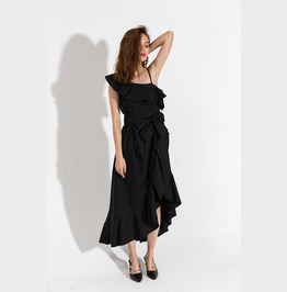Sexy One Side Thin Strap Shoulder Irregular Length Black Dress