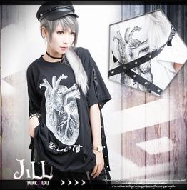Punk Visual Rock Heart Of Sorrow Grommet Strap Baggy Long Tshirt【Jag0015】