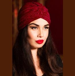 Voodoo Vixen Red Vintage Style Velvet Turban