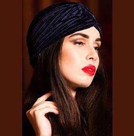 Voodoo Vixen Navy Velvet Vintage Style Turban