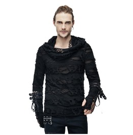 Men's Black Tattered Long Sleeve Hooded Top