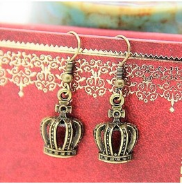 Antique Bronze Vintage Queen Royal Crown French Hooks Earrings