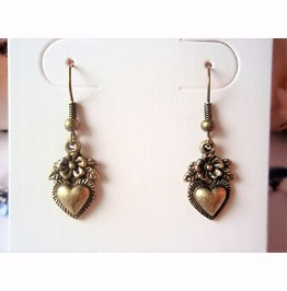 Retro Vintage Inspired Antique Bronze Flower Heart French Hook Earrings