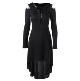 Cut Shoulder Plunge Neck Lace Up Long Sleeves Hooded Dress