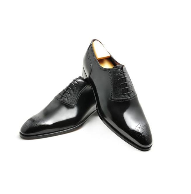 ce71a06959d Handmade Men Brogue Formal Shoes Men Black Leather Dress Shoes Leather Shoe