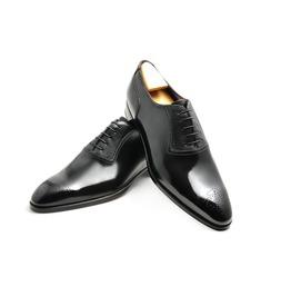 Handmade Men Brogue Formal Shoes Black Leather Dress Shoes Leather Shoe