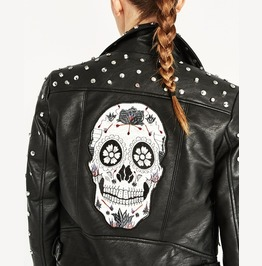 Imitation Leather Skull Embroidery Stud Womens Jacket Outerwear